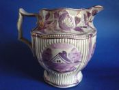 Superb Early Hand Painted Staffordshire Pottery Pink Lustre Jug c1820